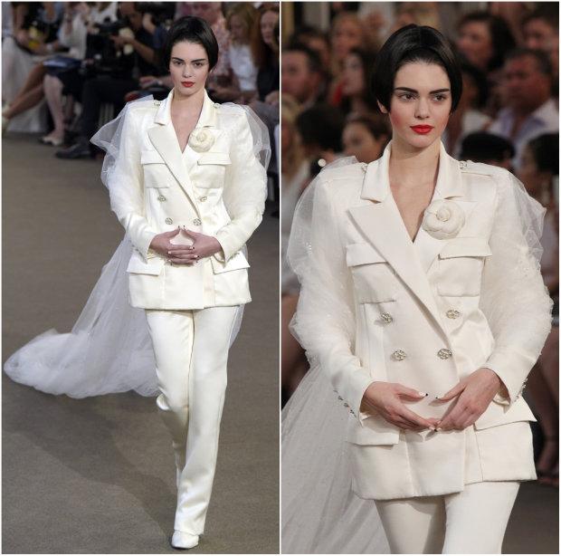 Kendall Jenner encarnou a tradicional noiva da Chanel, vestindo terno com véu. Foto: Chanel/Divulgação