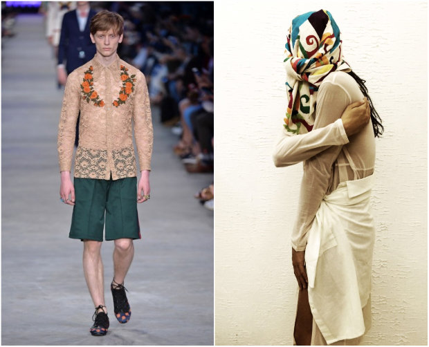 Gucci e o pernambucano Frederico F. levam à passarela a androginia. Fotos: Gucci/Divulgação e Frederico Ferrera/Divulgação