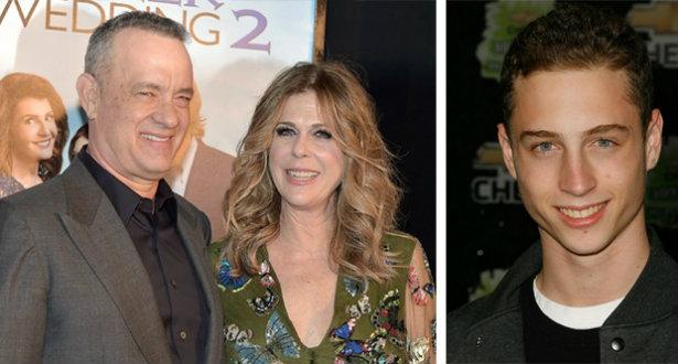 Tom Hanks e a esposa Rita Wilson vão ter que assumir a culpa do delito do filho (dir). Foto: AFP