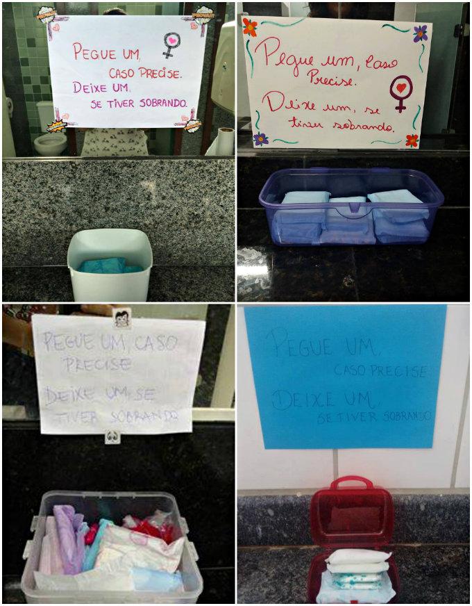 """Vários centros da UFPE já adotaram o """"potinho"""" para doação de absorventes. Foto: Facebook/Reprodução (Vários centros da UFPE já adotaram o """"potinho"""" para doação de absorventes. Foto: Facebook/Reprodução)"""