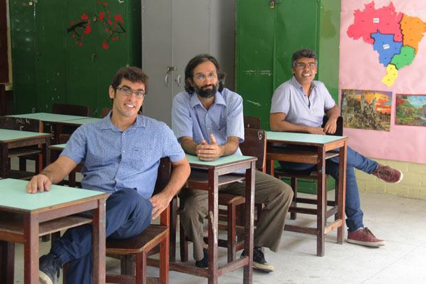 Para Lula Marcondes, Francisco Rocha e Bruno Lima, sócios no escritório O Norte, ser arquiteto não é construir paredes. Foto: Karina Morais/DP