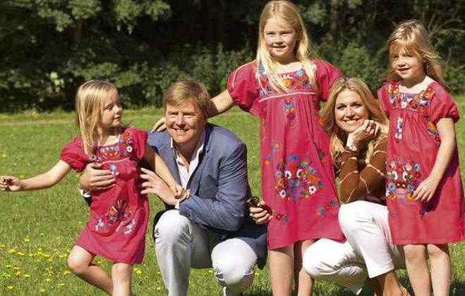 Família real: o aniversariante, Willem, e a rainha Máxima, com Amalia, Alexia e Ariane. Foto: Hollande Alliance/Divulgação