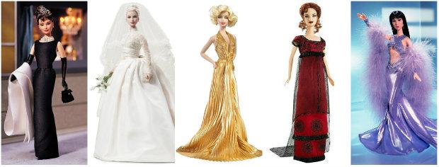 Barbies inspiradas em Audrey Hepburn, Grace Kelly, Marilyn, Kate Winslet e Cher. Fotos: Mattel/Divulgação