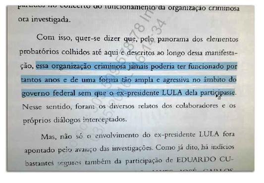 """Reprodução do parecer apresentado por Janot: provas apontam para a participação de Lula no """"petrolão"""". Foto: Reprodução (Reprodução do parecer apresentado por Janot: provas apontam para a participação de Lula no """"petrolão"""". Foto: Reprodução)"""