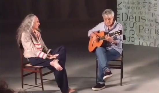 Caetano e Bethânia cantam em dueto no programa da Arte 1. Foto: Reprodução do Facebook/Caetano Veloso