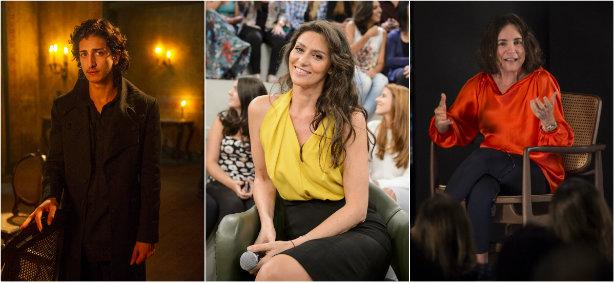Johnny Massaro, Maria Fernanda Cândido e Regina Duarte se pronunciaram pela internet. Montagem: Globo/Reprodução