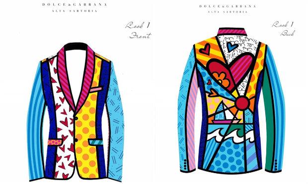 Os croquis do terno criado pela grife Dolce & Gabbana com estampas de Romero Britto. Fotos: @brittopopart/Instagram/Reprodução