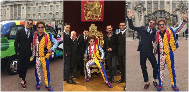 Romero Britto posou com terno da grife em pontos turísticos de Londres, onde comemora aniversário da rainha da Inglaterra, Elizabeth II. Fotos: @brittopopart/Instagram/Reprodução