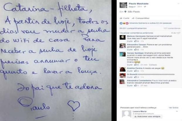 """Paulo Machado publicou bilhete que deixou para a """"filhota"""" no Facebook. Foto: Reprodu"""