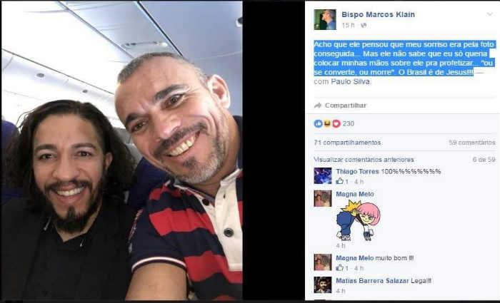"""""""Acho que ele pensou que meu sorriso era pela foto conseguida..."""", publicou o bispo em rede social. Foto: Reprodu"""