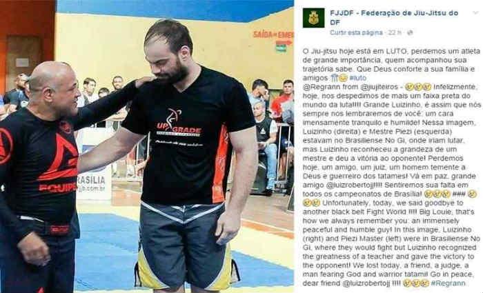 Colegas do esportista se manifestaram no Facebook. Foto: Facebook/Divulga