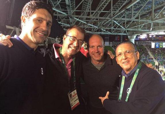 Galvão posta foto ao lado da equipe da BBC no parque olímpico. Foto: Reprodução/Instagram