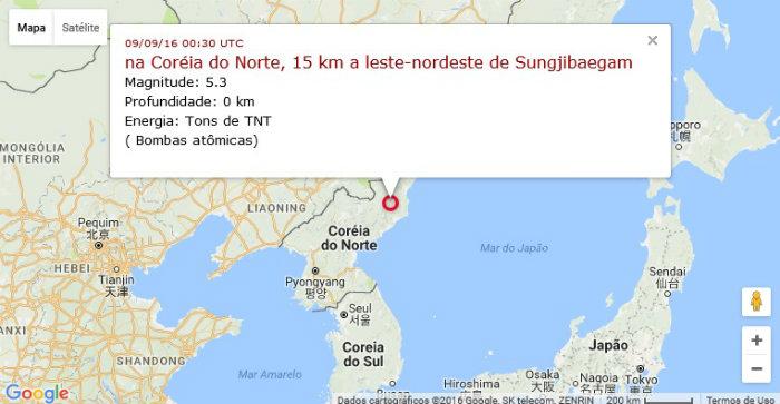 Mapa do epicentro do tremor. Foto: Google Maps/Apolo11/Reprodução