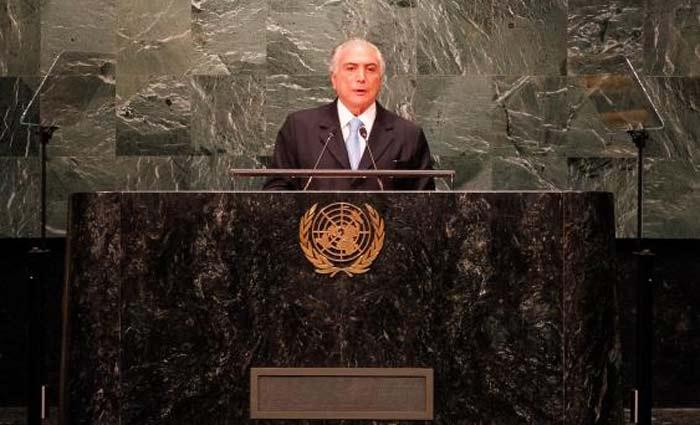 O presidente Michel Temer faz discurso de abertura da Assembleia Geral das Na