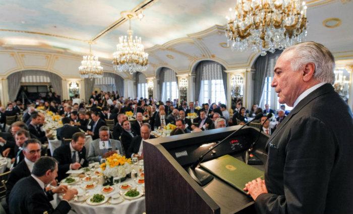 Temer discursando em Nova York. Foto: Beto Barata/PR
