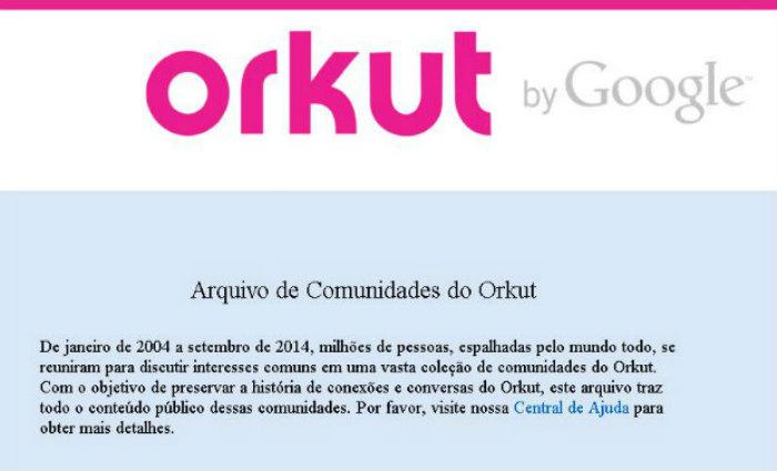 Rede social foi líder no Brasil, mas perdeu espaço para o Facebook e acabou em 2014. Foto: Orkut/Reprodução