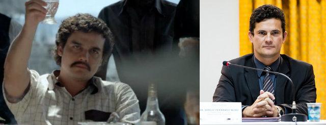 Wagner Moura como Pablo Escobar na série Narcos, produzida pela Netflix, e o juiz Sérgio Moro, à direita. Foto: Montagem/DP