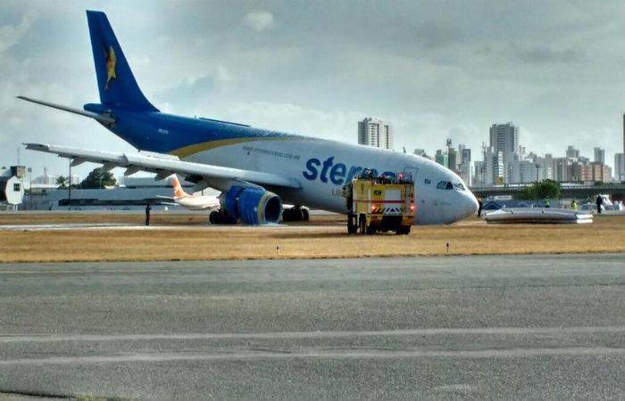 Aeronave sofreu um problema técnico no trem de aterrissagem. Foto: Jorge Moraes/ DP