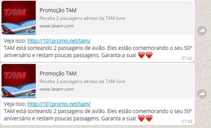Link suspeito sugere que o usuário irá ganhar passagens aéreas em comemoração de um suposto aniversário de 50 anos da companhia aérea TAM. Foto: Reprodução