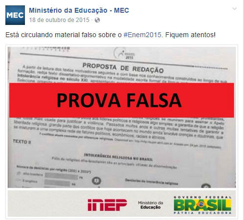 O tema é o mesmo que aparece em uma imagem divulgada no ano passado pelo Ministério da Educação (MEC) ao desmentir um boato de vazamento da prova. Foto: MEC/Facebook/Reprodução