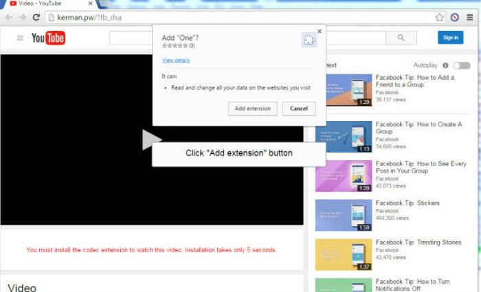 Malware se disfarça de página do YouTube. Foto: Reprodução