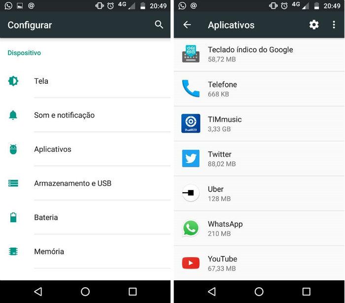 Abra o menu de configurações, vá em aplicativos e selecione o do Uber. Foto: Android/Reprodução (Abra o menu de configurações, vá em aplicativos e selecione o do Uber. Foto: Android/Reprodução)
