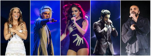 No Recife, o balanço mostra Ivete Sangalo, Justin Bieber, Anitta, Luan Santana e Drake entre os preferidos. Fotos: Reprodução da internet