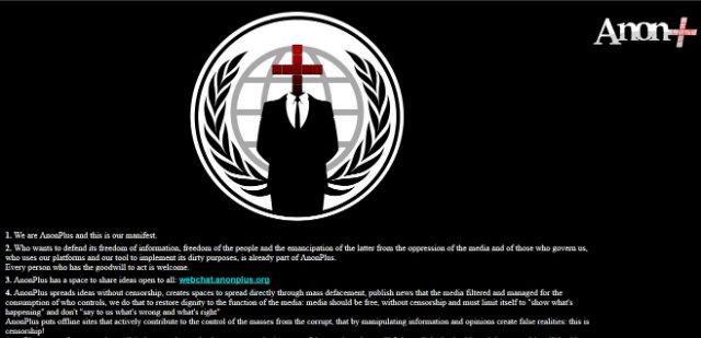 """Em manifesto, os invasores dizem que """"o AnonPlus difunde ideias sem censura"""" e criticam a mídia. Foto: Reprodução/Internet"""