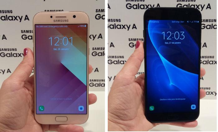 Galaxy A5 tem tela de 5,2 polegadas, enquanto o A7 tem 5,7 polegadas. Foto: Luciana Morosini/DP