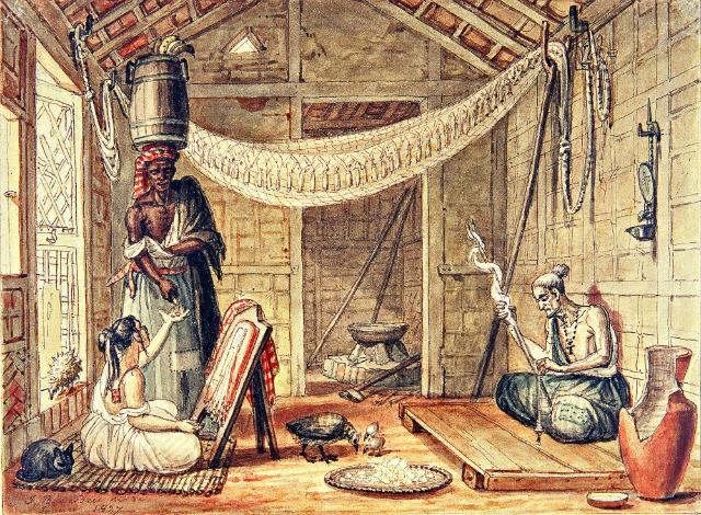 Debret buscou documentar as relações entre as diferentes classes sociais no Rio de Janeiro da época. Nesta gravura de 1827, uma família pobre recolhendo o produto do trabalho de uma negra.  Crédito: IRB/Divulgação