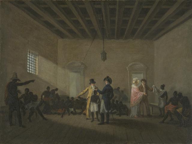 Mercado de Escravos de Valongo (1822) é uma das raras pinturas de óleo sobre tela conhecidas de Debret. Crédito: IRB/Divulgação