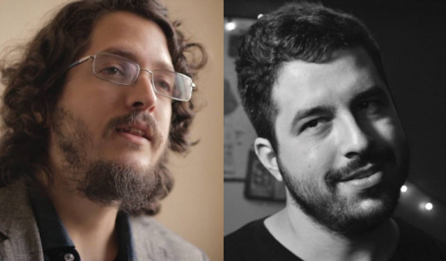 Josias Teófilo (à esq.) e Daniel Aragão, que trabalharam juntos em O Jardim das Aflições. Foto: YouTube/Reprodução