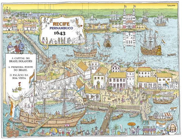 Cada mapa representa um ano da história do município, desde 1537 até 2017, passando por momentos como a ocupação holandesa, a Revolução de 1817 e a passagem do zepelim. Foto: Terciano Torres/Divulgação