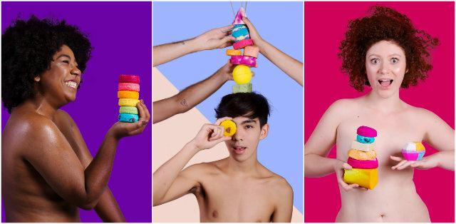 Neste ano, a Lush reforçou a campanha por produtos sem embalagem usando a hashtag #verãopelado. Fotos: Lush/Divulgação