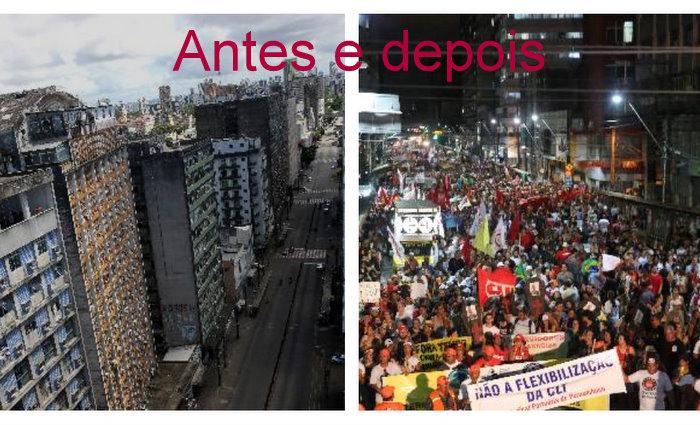 A Avenida Conde da Boa Vista ficou vazia pela manhã, em virtude da adesão dos rodoviários e do comércio à greve geral. À tarde, a via pública foi tomada por manifestantes que protestavam o governo Temer.