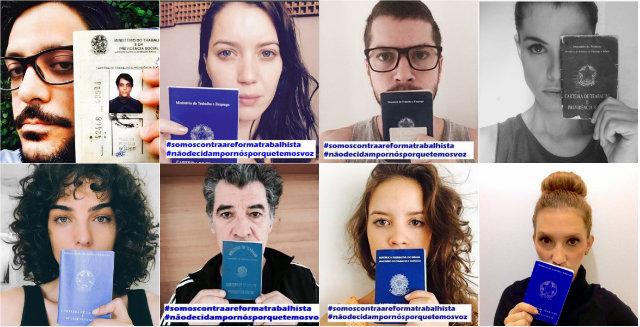 Campanha virtual usa as hashtags #somoscontraareformatrabalhista e #nãodecidampornósporquetemosvoz. Fotos: Instagram/Reprodução