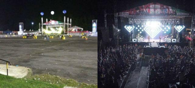 Imagens que circulam nas redes sociais mostram baixa adesão do público ao evento. Fotos: Facebook/Reprodução e Marcos Lemos/Divulgação