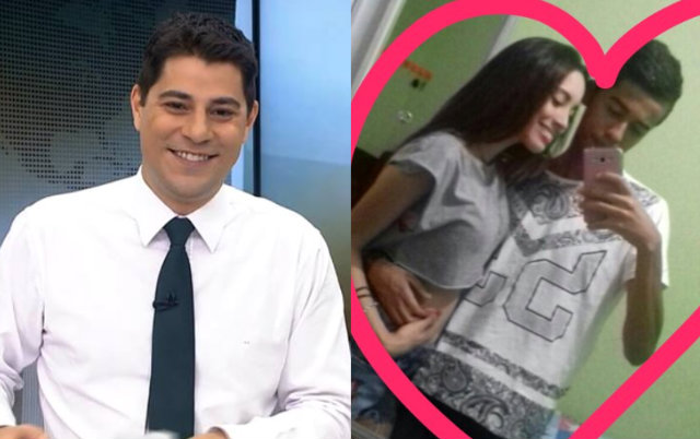 Depois de conversar com a jovem, afirmando que ela tinha um pretendente, o jornalista aconselhou o seguidor. Fotos: Globo/Divulgação e Twitter/Reprodução