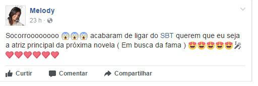 Antes de publicar o vídeo, cantora diz ter sido convidada pelo SBT. Foto: Facebook/Reprodução