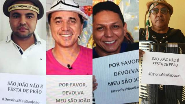 Chambinho do Acordeon, Flávio Leandro, Targino Gondim e Joquinha Gonzaga se uniram a dezenas de músicos em manifesto online.Fotos: Facebook/Reprodução