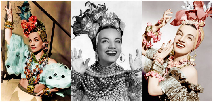 Carmen Miranda é referência de estilo e excentricidade: seus turbantes ganham destaque na mostra virtual. Fotos: Reprodução da internet
