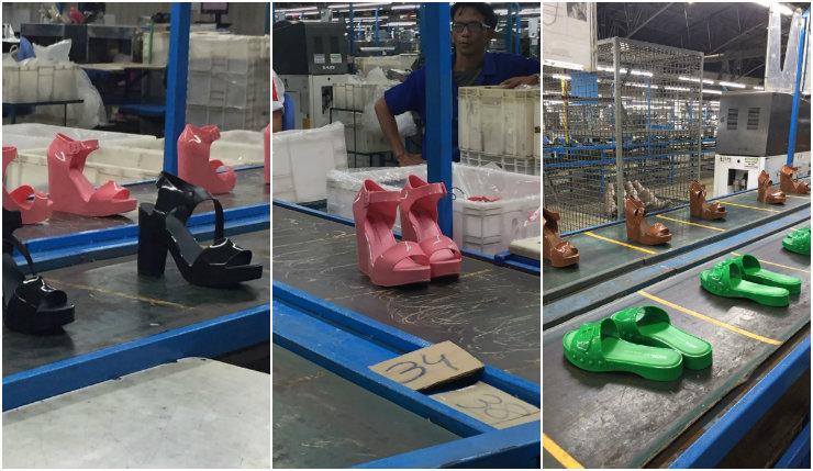 As sandálias rodavam nas esteiras da fábrica, uma das principais unidades produtivas da Melissa. Somadas, as fábricas produzem 10 pares de Melissa por segundo. Fotos: Larissa Lins/DP