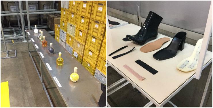 Na fábrica, tudo cheira ao plástico da Melissa. À esquerda, essências (inclusive aromáticas) e matérias-primas. À direita, moldes das peças fabricadas. Fotos: Larissa Lins/DP