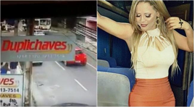 Câmera flagrou colisão de ônibus com veículo de Eliza. Foto: YouTube/Instagram/Reprodução