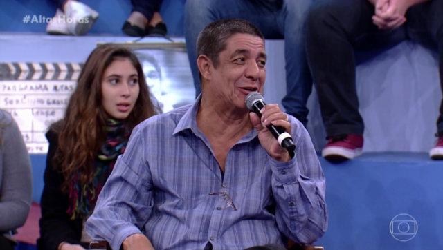 Zeca foi convidado do programa ao lado de Tiago Leifert e Leandra Leal. Foto: TV Globo/Reprodução