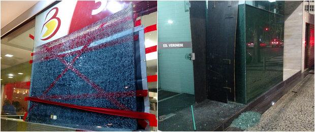 Vidraças foram atingidas durante a noite, em horário próximo.