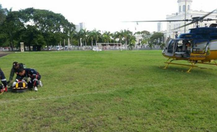 Base de Operações Aéreas e Samu foram acionados para remover  menino de oito anos, do Hospital de Bezerros para o Hospital da Restauração, no Recife. Foto: PRF/ Divulgação