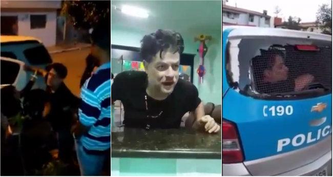 Fábio Assunção na rua, no hospital e na viatura policial. Foto: WhatsApp/Reprodução