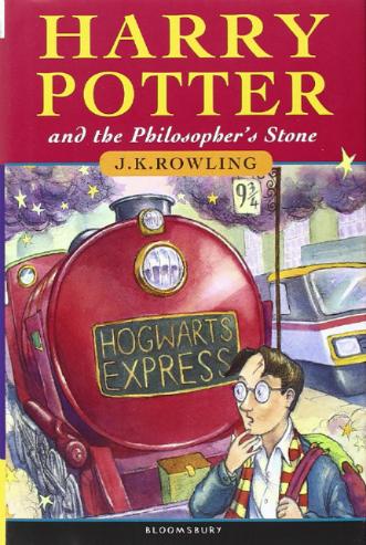 Capa da primeira versão de Harry Potter e a pedra filosofal, lançada pela Bloomsbury. Foto: Bloomsbury/Divulgação