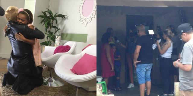 Resultado de imagem para imagens daMenina que salvou livros da enchente ganha casa completa no Programa do Faro